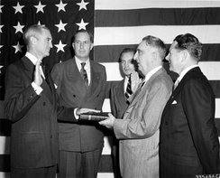 Stuart Symington is sworn-in as Secretary of the Air Force by Chief Justice Fred M. Vinson on September 18, 1947.