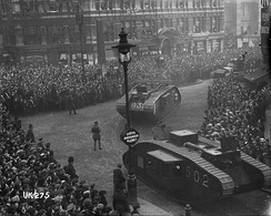 Tanks on parade in London at the end of World War I