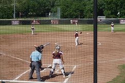 Pitchout during a Texas A&M–Commerce Lions vs. Texas Woman's Pioneers softball game