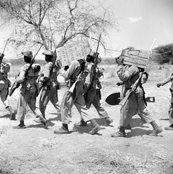 Soldiers of the West African Frontier Force removing Italian frontier markers from the Kenya–Italian Somaliland border, 1941