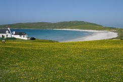 Looking west to Balephuil Bay, Tiree across the machair.