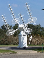 Array of four axial-mode helical antennas used for satellite tracking, France
