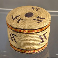Trinket Basket, Makah people, Northwest Washington, late 19th to early 20th century, twined and plaited bear grass, sedge, cedar bark