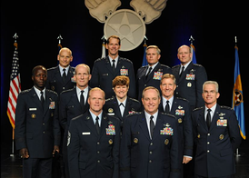 Current Service Dress uniforms worn by senior general officers and the Chief Master Sergeant of the Air Force