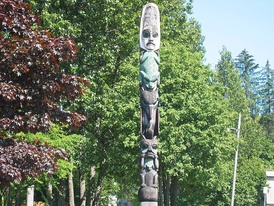 The Three Frogs Pole, in Wrangell, Alaska is believed to belong to the Tlingit clans
