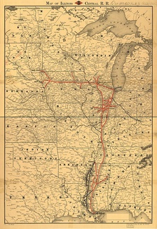 Illinois Central 1892 Route Map