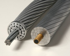 Conventional ACSR (left) and modern carbon core (right) conductors