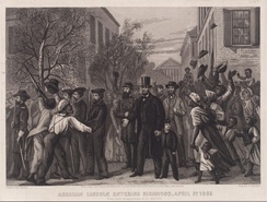 An engraving showing U.S. President Abraham Lincoln on foot touring the city of Richmond with Porter in April 1865