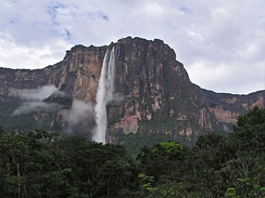 Angel Falls in Venezuela, where the free climbing scene was shot. Climbing took place on sites both beside the falls and above the rim.