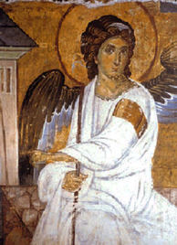 The White Angel (1235) fresco from Mileševa monastery; sent as a message in the first satellite broadcast signal from Europe to America, as a symbol of peace and civilisation[334]