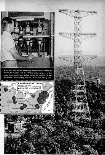 One of the first FM radio stations, Edwin Armstrong's experimental station W2XMN in Alpine, New Jersey, USA.  The insets show a part of the transmitter, and a map of FM stations in 1940.  The tower still stands today.