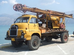 Bedford truck fitted with Ruston-Bucyrus drilling rig, in Lixouri, Greece