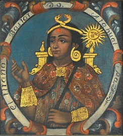Atahualpa, Fourteenth Inca. 18th century painting by the Cusco School, (Brooklyn Museum)