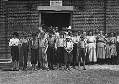 Part of the child work force at Tupelo Cotton Mills, 1911. Photograph by Lewis Hine.