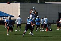 Allred (#56) on a defensive play during Tennessee Titans training camp in 2008