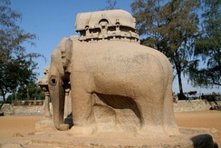 Elephant carved out of a single-stone