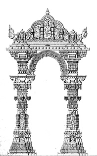 Artistic rendition of the Kirtistambh at Rudra Mahalaya Temple. The temple was destroyed by Alauddin Khalji.
