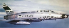 North American F-100F-10-NA Super Sabre Serial 56-3899 of the 356 TFS being aerial refueled over Aviano Italy, 1960