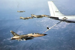 388th TFW F-105 Wild Weasels and F-4 Phantoms refuel with a KC-135 on a mission to North Vietnam, 1970