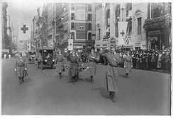 Heading the Washington Ambulance Corps in a Red Cross parade