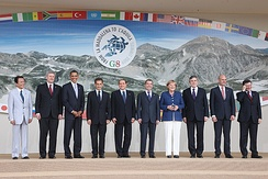 Leaders pose for a group photo on the first day of the G8 Summit.