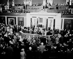Gemini V Prime Crew, Astronauts Gordon Cooper and Pete Conrad, receive a standing ovation during their visit to the United States House of Representatives