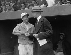 Senators' manager Bucky Harris and Mack, Opening Day, April 13, 1926, Griffith Stadium, D.C.; Senators won in the 9th, 1–0