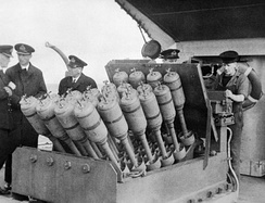 Hedgehog, a 24-barreled anti-submarine mortar, mounted on the forecastle of the destroyer HMS Westcott.