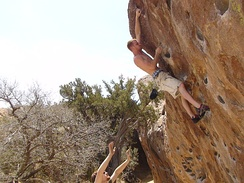 Bouldering on North Mountain at Hueco Tanks