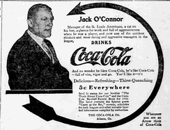 Jack O'Connor in a Coca-Cola ad from 1910, as manager of the St. Louis Browns