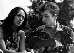 "Joan Baez and Bob Dylan were primary figures in the early-1960s American folk music revival.[106] Dylan subsequently ventured into folk rock after being inspired by the British Invasion, particularly The Animals' hit recording of the folk song ""The House of the Rising Sun"".[107]"