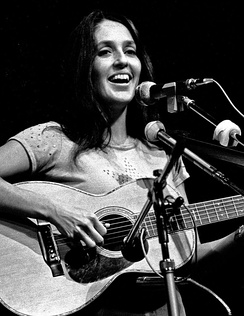 Joan Baez playing on stage in a Hamburg TV studio, 1973