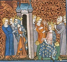Depiction of two kings, Emma's husband Rudolph of France (right, enthroned) and Charles the Simple (left centre)