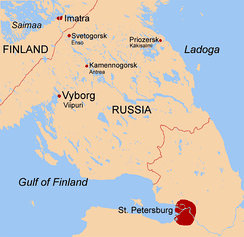 Karelian Isthmus between the Gulf of Finland and Lake Ladoga