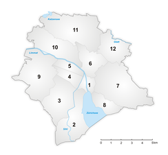 Zürich's twelve municipal districts