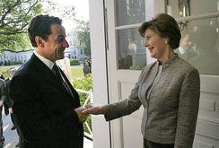 Sarkozy greets U.S. First Lady Laura Bush in Germany, June 2007