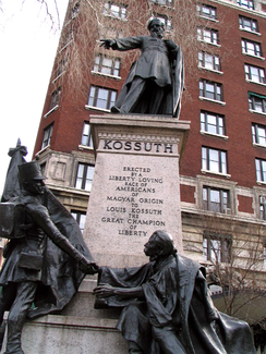 A statue Lajos Kossuth stands on 113th and Riverside Drive in Manhattan, New York City