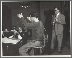 Lenny Bernstein and Benny Goodman in rehearsal, ca. 1940–1949