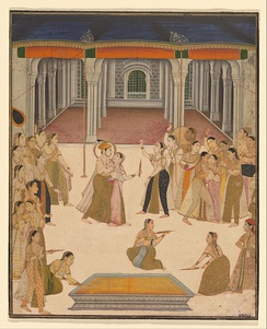 The Mughal Indian emperor Jahangir celebrating Holi with ladies of the zenana.