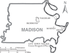 Map of Madison Parish, Louisiana With Municipal Labels