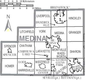 Map of Medina County, Ohio with municipal and township labels
