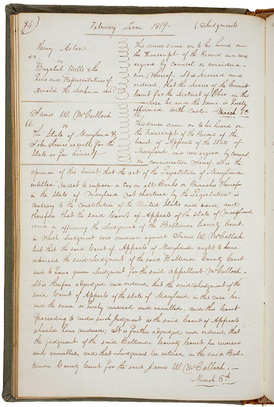 The text of the McCulloch v. Maryland decision, handed down March 6, 1819, as recorded in the minutes of the US Supreme Court