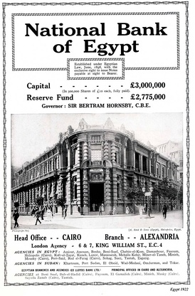 an old advertisement for the National Bank of Egypt.