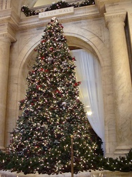 Christmas tree at Astor Hall, adjacent to the main entrance to the NYPL's main branch
