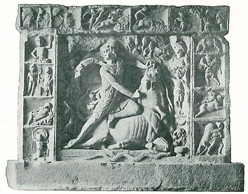 Relief of Mithras as bull-slayer from Neuenheim near Heidelberg, framed by scenes from Mithras' life.