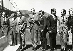 Mayor Wilson (second from right) with U.S. President Richard Nixon, First Lady Pat Nixon, and others including Interior Secretary Rogers C.B. Morton and Counselor to the President Donald Rumsfeld in front of the Golden Gate Bridge, September 1972