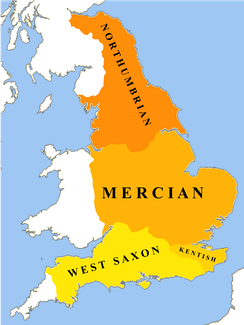 The dialects of Old English c. 800 CE