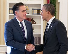 Former Governor Mitt Romney meets with President Barack Obama at the White House after the 2012 presidential election.