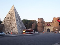 The Pyramid of Caius Cestius and the Aurelian Walls.