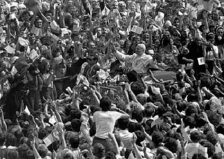 Millions cheered Pope John Paul II during his first visit to Poland as pontiff (1979).